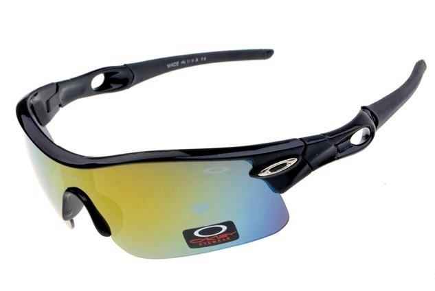 oakley radar pitch sunglasses in polished black and fire iridium