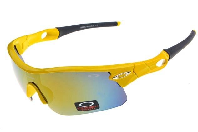 oakley radar pitch sunglasses in neon yellow and ice iridium