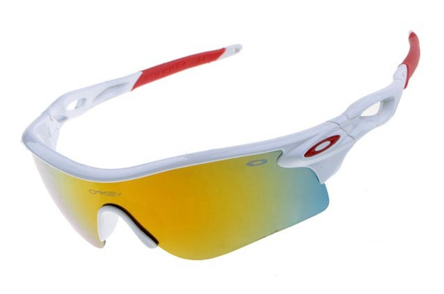 oakley radarlock sunglasses in white and fire iridium