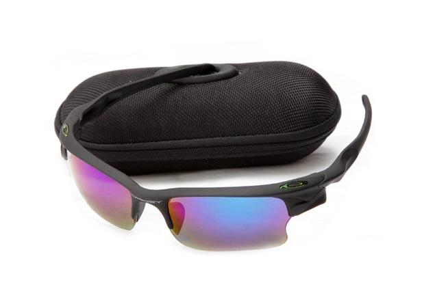 Oakley fast jacket sunglasses in matte black and ice iridium